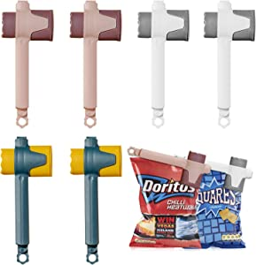 6 Pack Clips for Food Packages, Food Storage Sealing Clips with Pour Spouts, Kitchen Chip Clips Bag Clips for Food, Plastic Cap Sealer Clips, Food Storage and Organization Kitchen Gadgets