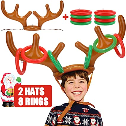 Inflatable Reindeer Antler Hat Ring Toss Game Toys Christmas Party Decoration