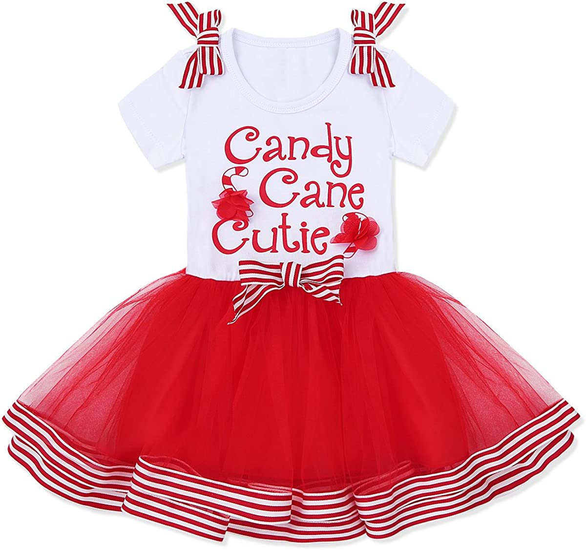 CHICTRY Infant Baby Girls Cutie Christmas Elk Romper Tutu Dress Short Sleeve Reindeer Cosplay Party Dance Costume Tutu Brown 3 Years