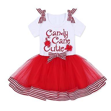 fcec3139843 TiaoBug Enfant Fille Robe de Noël Robe de Soirée Cérémonie Fête Tulle Robe  de Princesse Rouge Blanc Organza Déguisement Tenue de Noël 2-5 Ans   Amazon.fr  ...