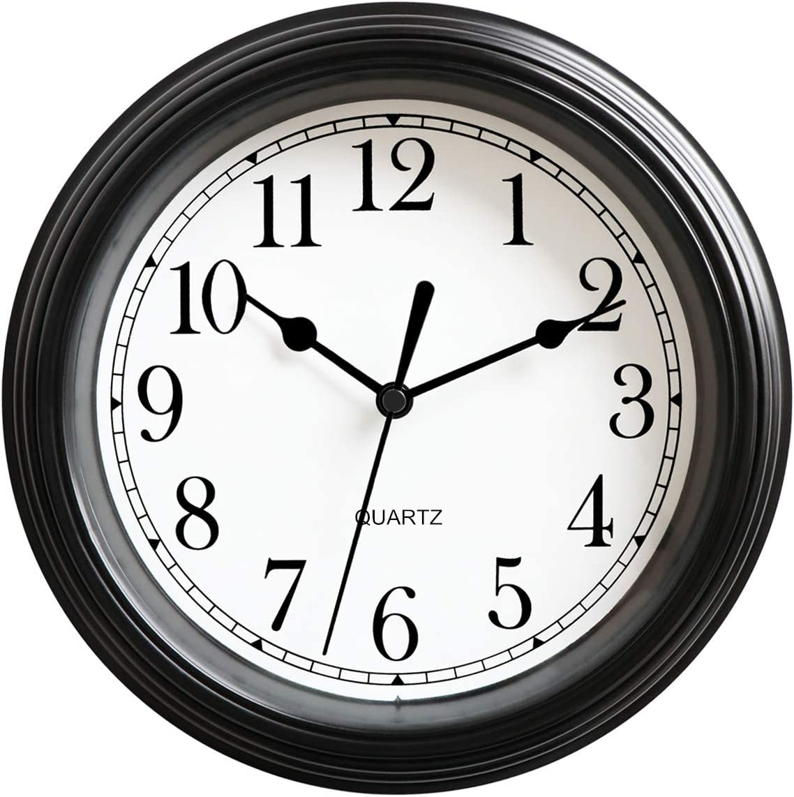 Foxtop Silent Non-Ticking Round Classic Clock Retro Quartz Decorative Battery Operated Wall Clock for Living Room Kitchen Home Office 12 inch (Black)