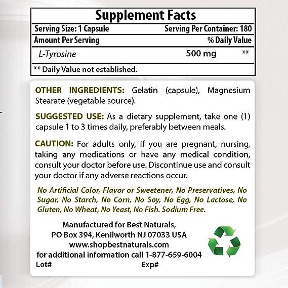 Mejor Naturals l-tyrosine 500 mg cápsula, 180 hilos: Amazon.es: Salud y cuidado personal