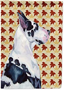 Caroline's Treasures LH9101GF Great Dane Fall Leaves Portrait Flag Garden Size, Small, Multicolor