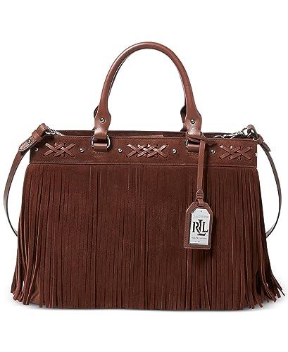 Amazon.com  Lauren Ralph Lauren Womens Barton Leather Satchel Tote Handbag  Brown Medium  Shoes 6aa1bed46b611