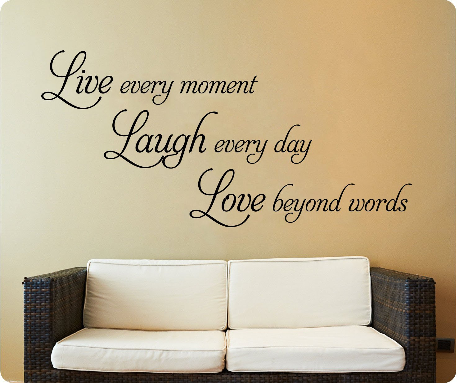 48'' Live Every Moment Laugh Everyday Love Beyond Words Wall Decal Sticker Art Mural Home Décor Quote by WallPressions