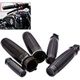 "KaTur Motorcycle 1"" Edge Cut Throttle Handlebar Hand Grips + Footpegs Foot Pegsfor 1996-2015 Harley Dyna Sportster Softail V-Rod VRSC"
