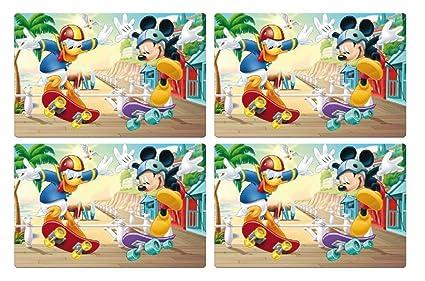 Theonoi Juego De 4 Manteles De Mesa Para Niños Manteles Individuales Manteles Individuales Para Colorear Base Para Amasar A Elegir Cars Mickey
