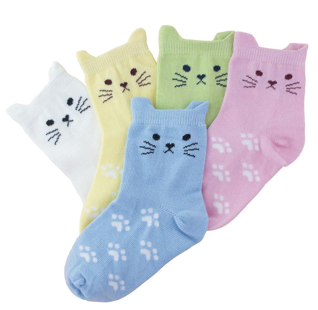 Tandi Kids Girls Cotton Novelty Cats Crew No Seam Socks - 5-8 Years/Little Kid 10.5M-12.5M/16cm-18cm - Multicoloured (5 Pair) by Tandi (Image #3)