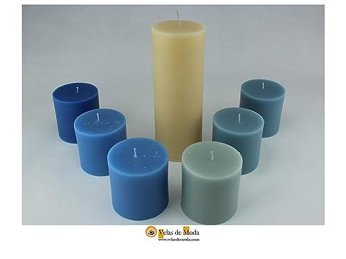 VELAS. MUNDOAZUL. Pack de siete velas cilíndricas. El velón es de color marfil y las demás velas son de distintas tonalidades del color elegido.: Amazon.es: Handmade