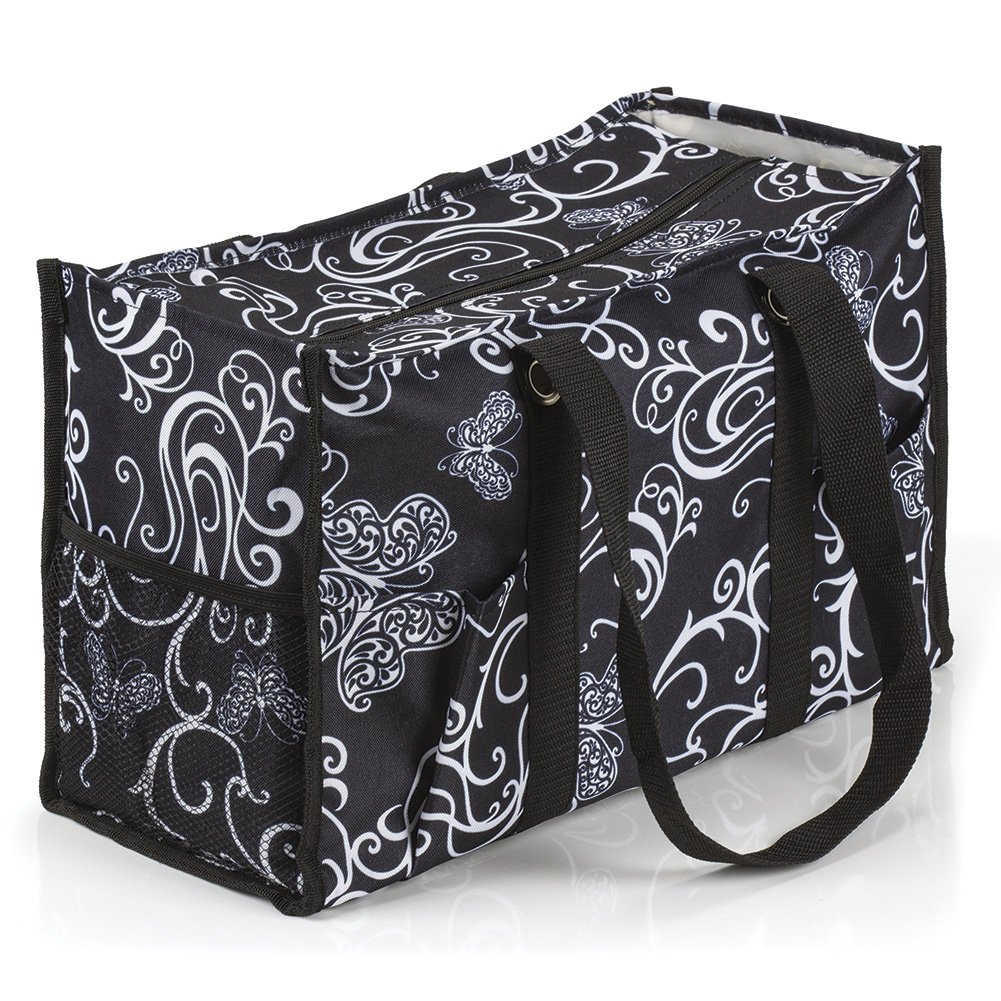 All Purpose Utility Tote Bag (17'' L x 11'' H x 6'' D, Butterfly Swirl)