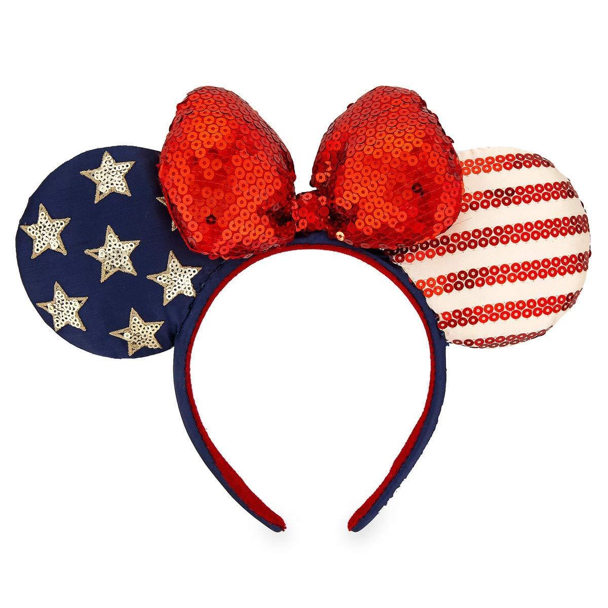 Sequins Bow American Flag Minnie Ears Stars Disney Parks Mickey Mouse Headband