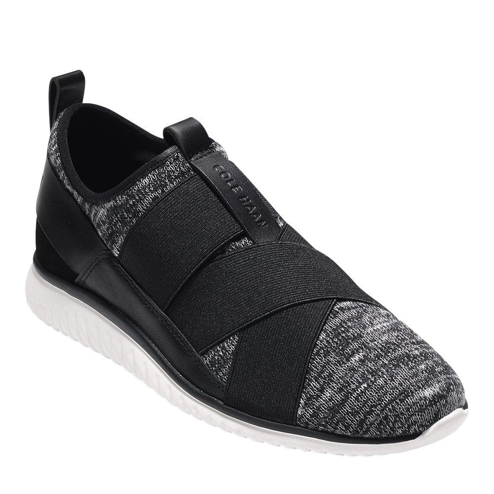 Cole Haan Womens StudiOGrand Knit Cross Strap Sneaker 7 Black-white