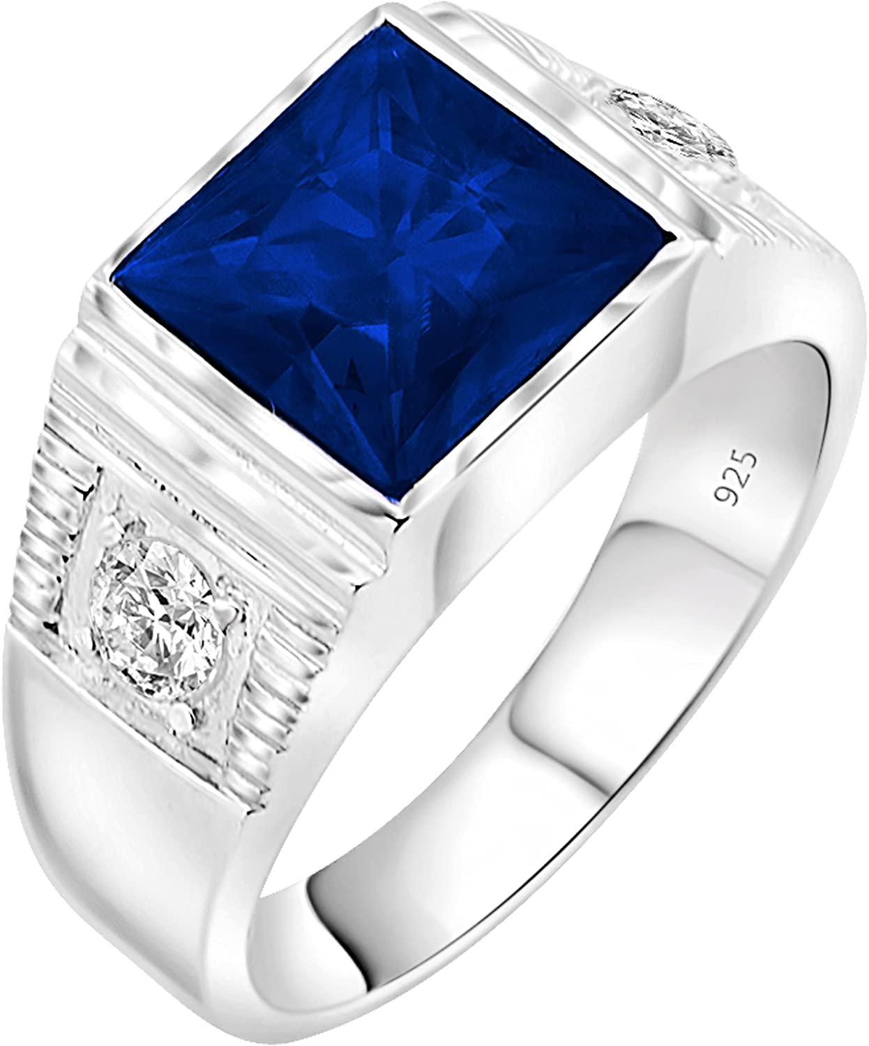 [2-5 Days Delivery] Men's Sterling Silver .925 Ring with 3.5ct Blue Princess Cut Center CZ Stone and 2 White Cubic Zirconia (CZ) Stones