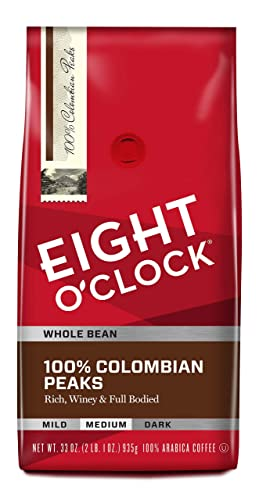 Eight O'Clock Whole Bean Coffee, 100% Colombian Peaks, 33 Ounce