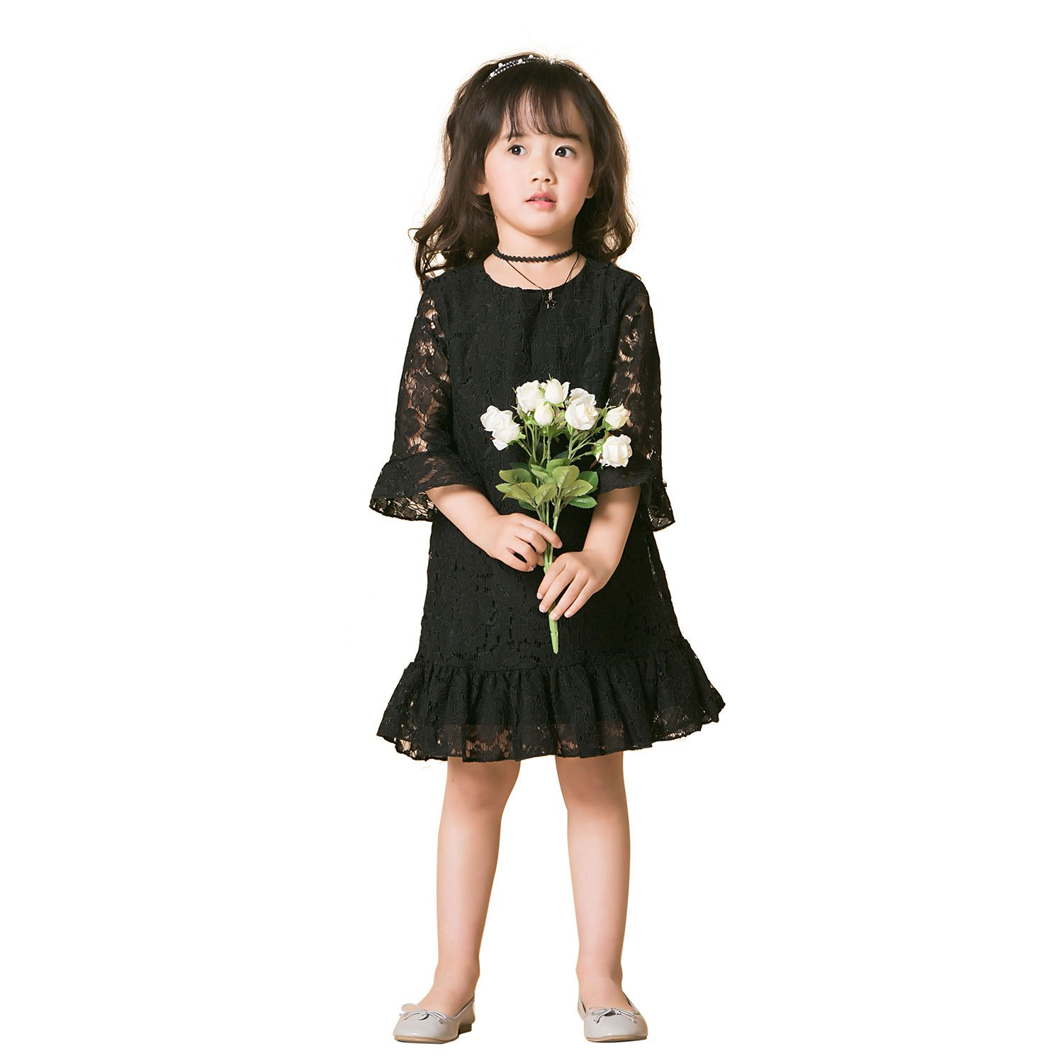 918689ec1578 Amazon.com: Girl Lace Sleeves Dress, Flower Girl Dress Toddler Country  Party Wedding Dress: Clothing