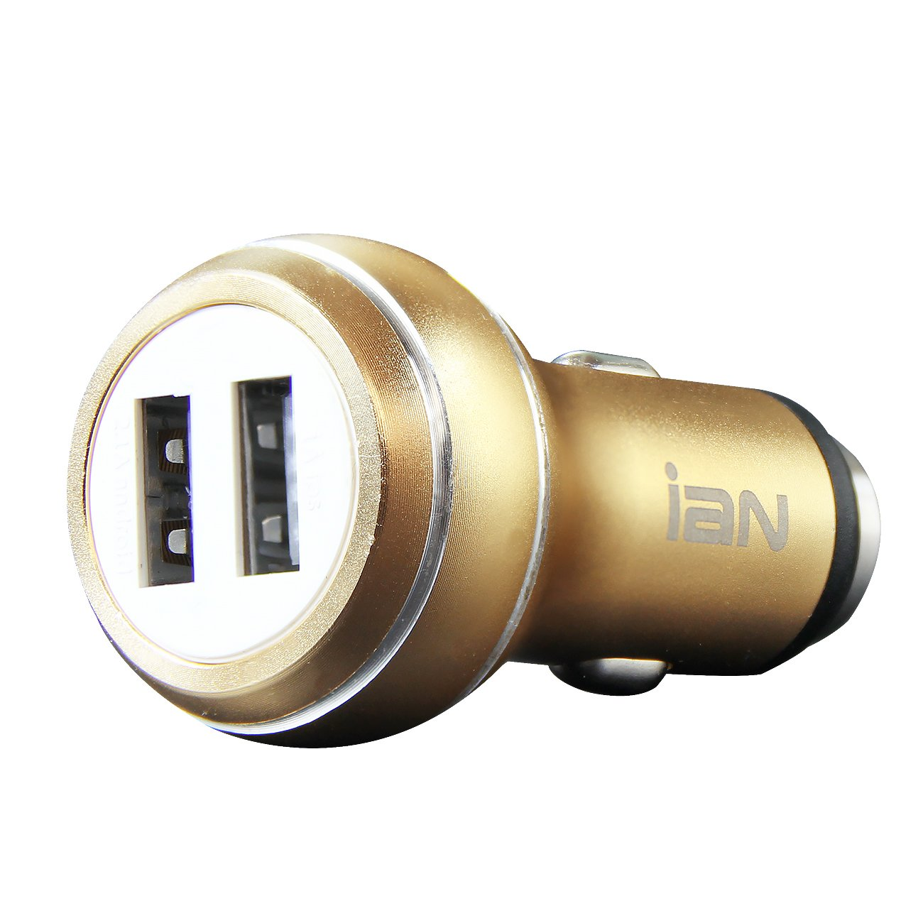 ASJ 24W Dual USB Car Charger, PowerDrive 2 for iPhone 7 / 6s / Plus, iPad Pro / Air 2 / mini, Galaxy S7 / S6 / Edge / Plus, Note 5 / 4, LG, Nexus, HTC and More (Gold)