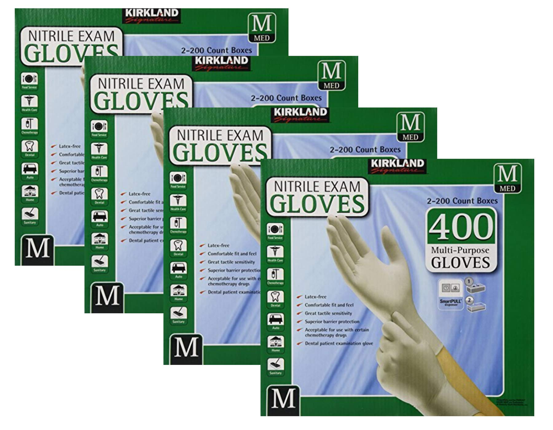 Kirkland Signature Nitrile Exam Glove Median Size 2-Pack Per Case Total 4 Case (1600 Count)