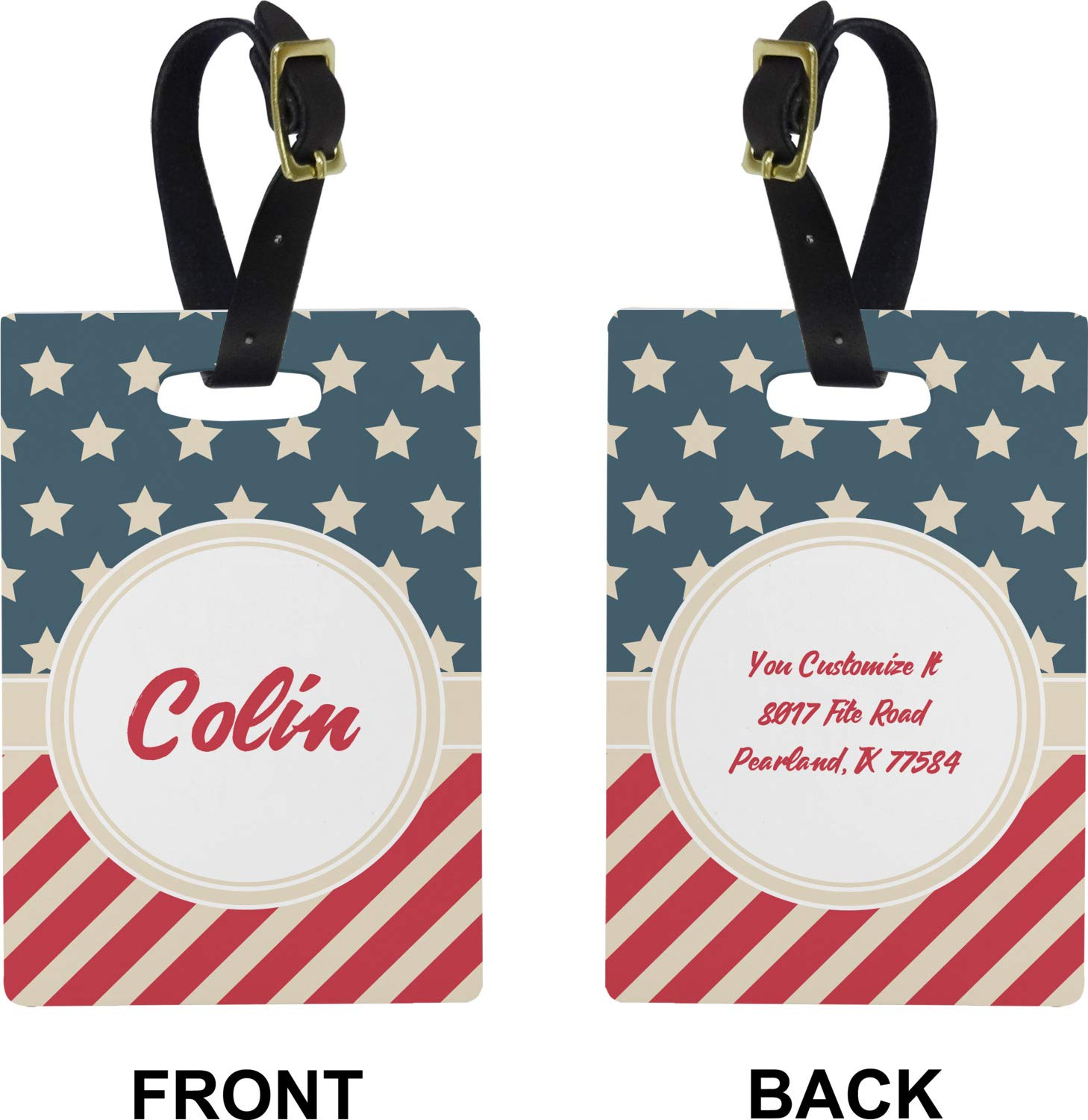 American Patriotic Stars And Stripes Pattern Travel Luggage Tags With Full Privacy Cover Leather Case And Stainless Steel Loop