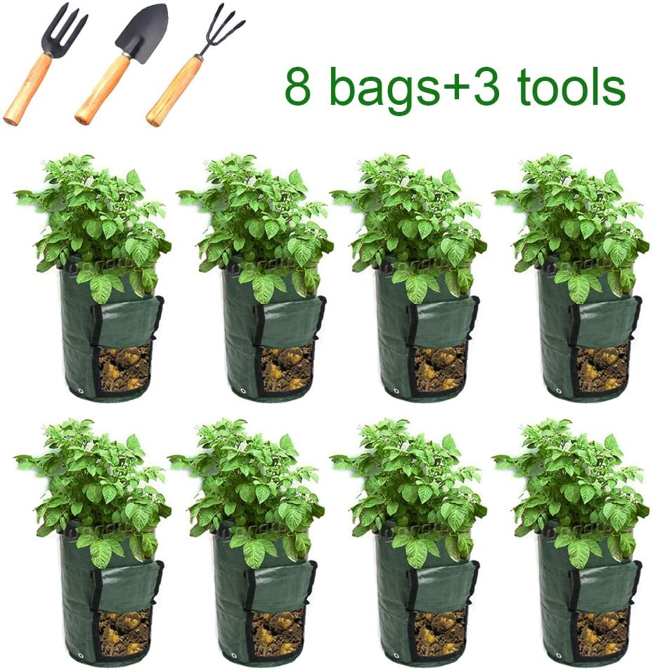 10 Gallon, 8 Pack- Green Klhamky 8 Pack 10 Gallon Potato Grow Bags+3 Tools PE Durable Aeration Pots Planters Bag with Handles Access Flap for Garden Melon Farm Vegetable Carrot Onion Tomato Taro Radish Peanut