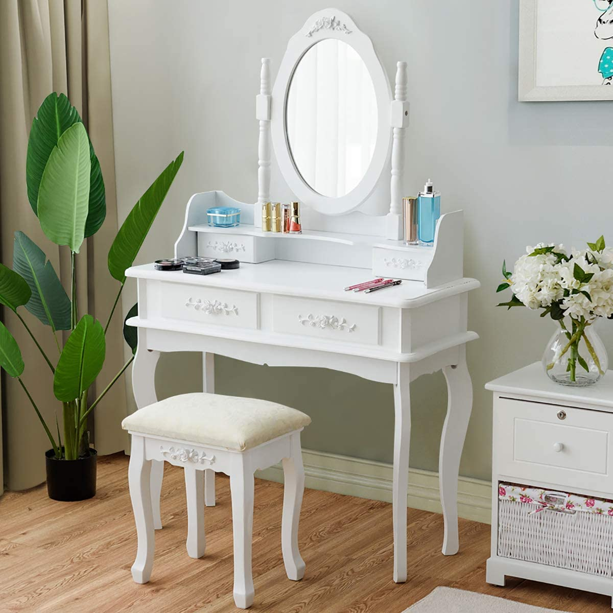 CHARMAID Makeup Table with Rotatable Mirror and 4 Drawer, Princess Girls Women Dressing Table with Cushioned Stool, Vanity Set with Oval Mirror White
