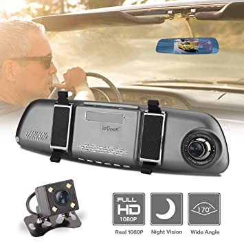 """ieGeek FHD 1080P cámara de coche visión nocturna 170° gran angular doble lente 5"""""""
