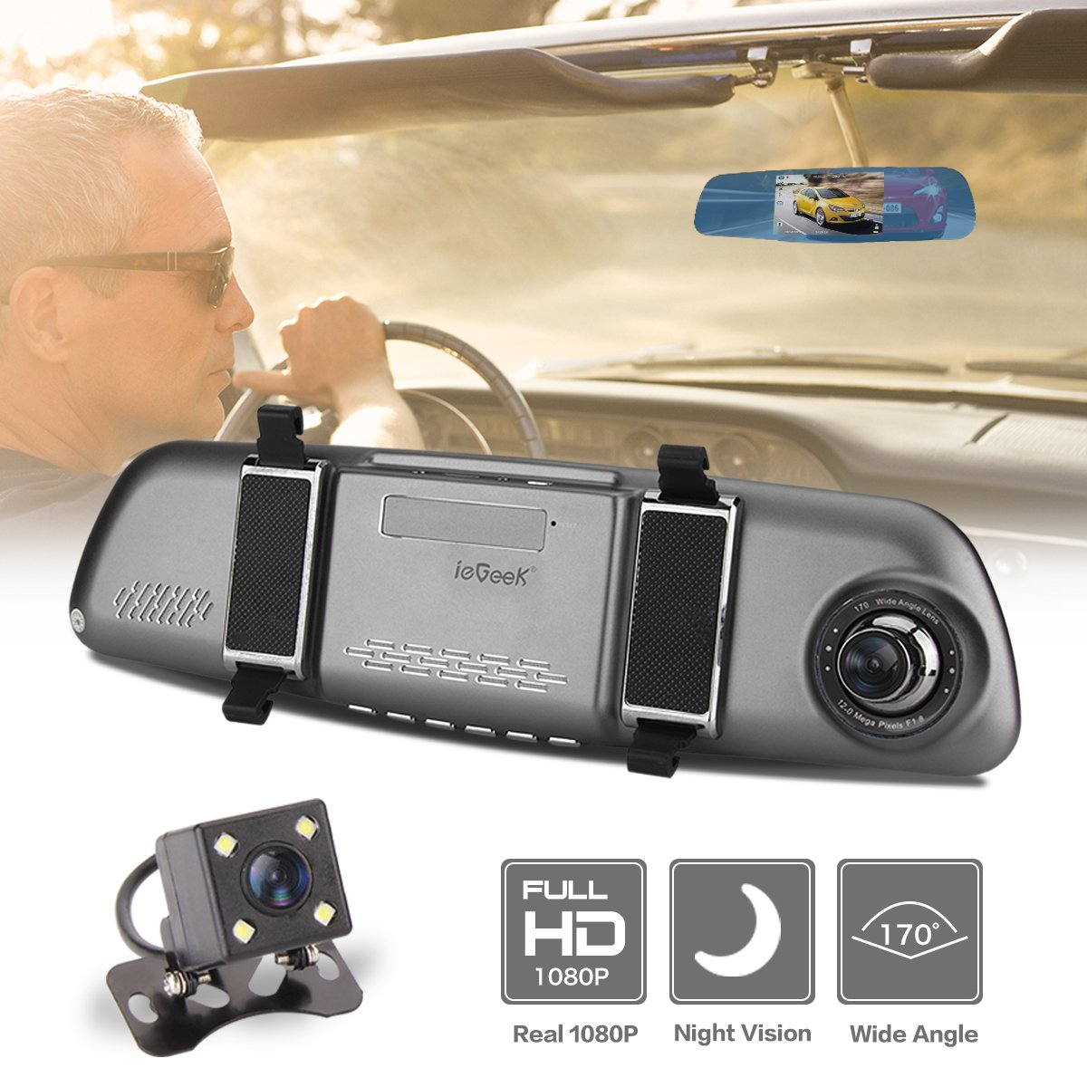 "ieGeek Car Camera FHD 1080P Night Vision 170°Wide Angle Dual Lens 5"" TFT Screen DVR with HDR Loop Recording G-Sensor Motion Detection Parking Assistance"
