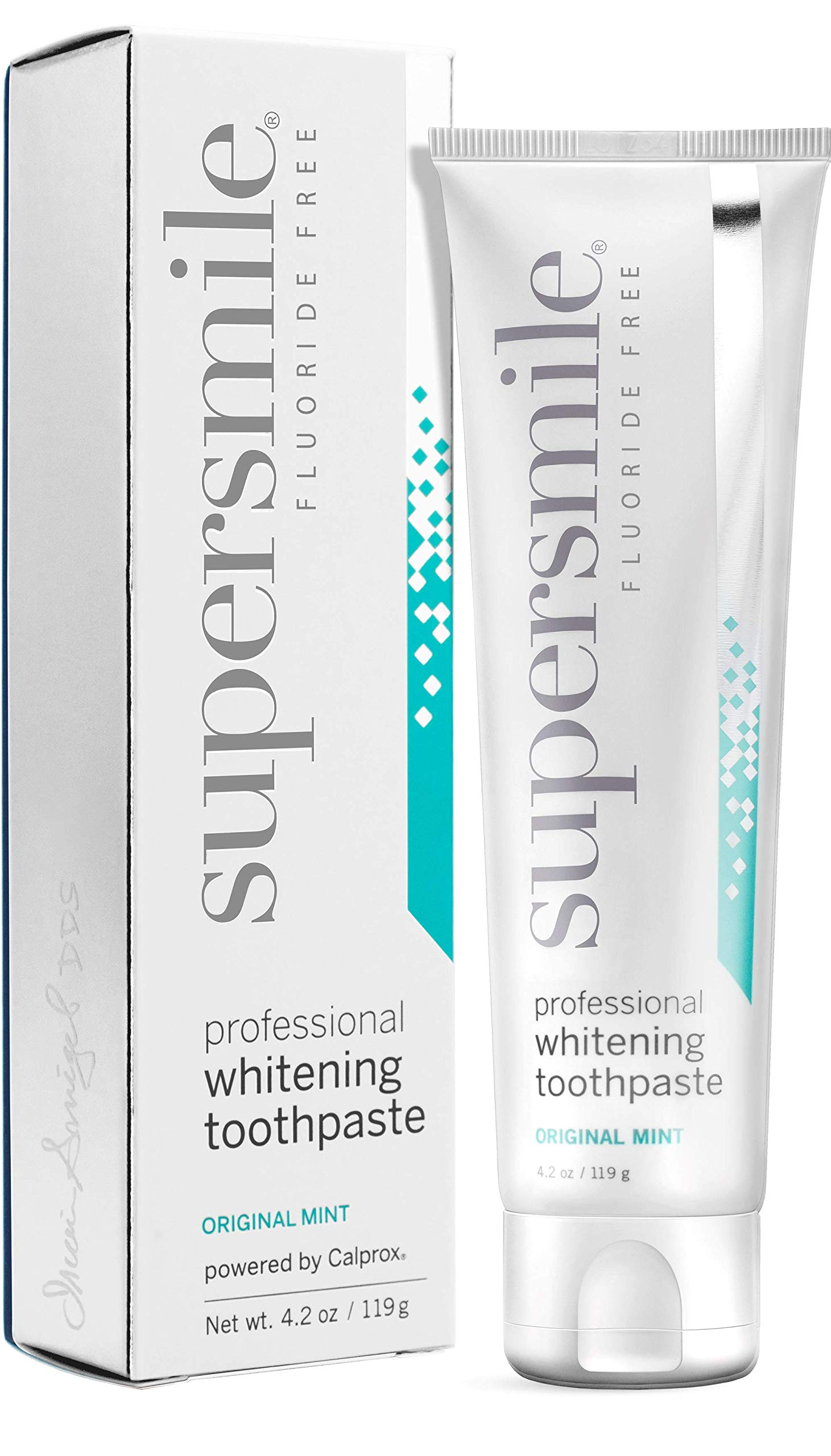 Supersmile Professional Teeth Whitening Toothpaste - Fluoride Free - Clinically Proven to Remove Stains & Whiten Teeth Up to 6 Shades - Enamel Strengthening - No Sensitivity (Original Mint, 4.2 oz.) by Supersmile
