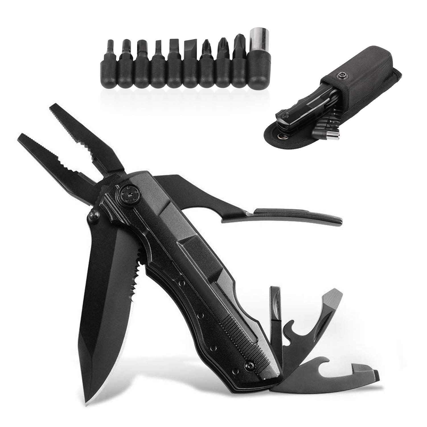 GETUHAND Multitool Pocket Knife 8-in-1 Multipurpose Tool with Folding Knife Pliers,Sheath and Bit Set Kit in Durable Black Oxide Stainless Steel for Hiker, Hunter, Solid Reliable Multipurpose Knife