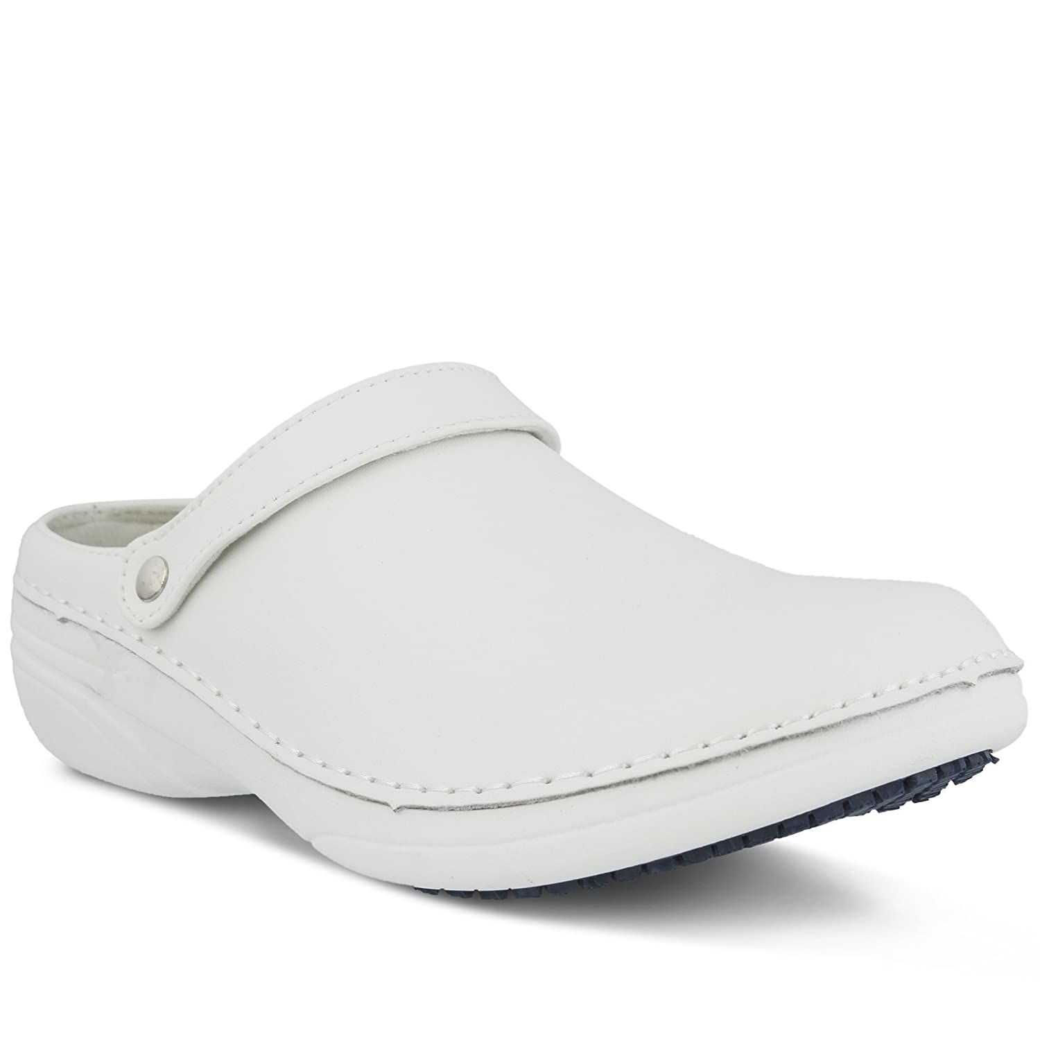 Women's Spring Step Professional Ireland Clog | Color White (M) | Women's Leather Open Back Clog Styled