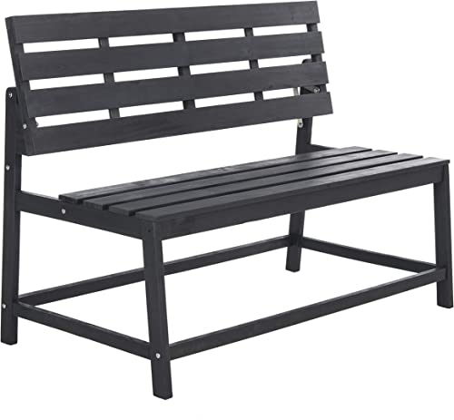 Safavieh PAT6753B Collection Ruben Grey Balcony Bench and Table Outdoor Set