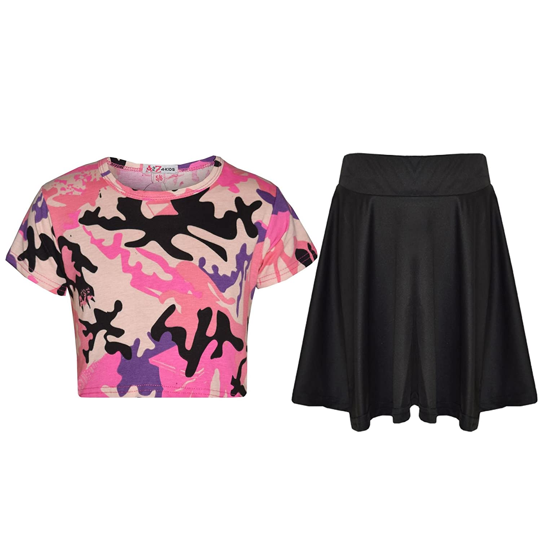 A2Z 4 Kids/® M/ädchen Crop Tops Kinder Camouflage Aufdruck Modisch T-Shirt Crop Tops /& Mode Skater Rock Satz Alter 5 6 7 8 9 10 11 12 13 Jahre