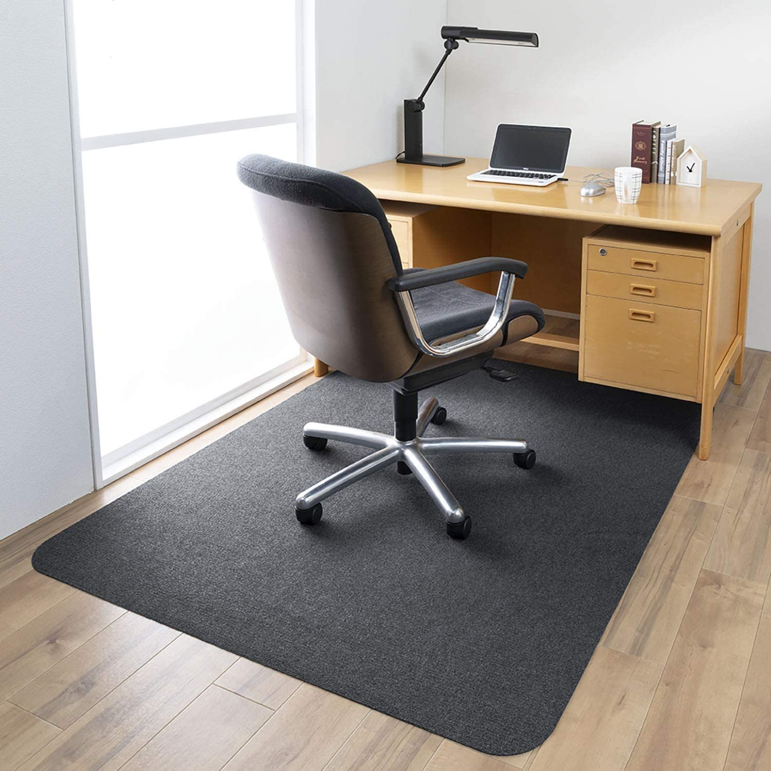 "55""×35"" Office Chair Mat for Hardwood Floors, 0.16"" Thick Non-Slip Office Chair Mat, Rectangular Non-Toxic Floor Protector, Non-Woven Fabric Surface, Not for Carpet(Black)"
