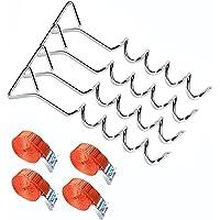 4-delige trampoline-verankeringsset met rode riemen, robuuste trampoline-bevestigingsset voor elastische bedden…