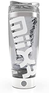 PROMiXX MiiXR PRO Rechargeable Shaker Bottle - Portable Electric Vortex Mixer, 20 0z, 100% BPA Free. Includes built-in Protein Storage System, X-Blade Technology in White and Silver