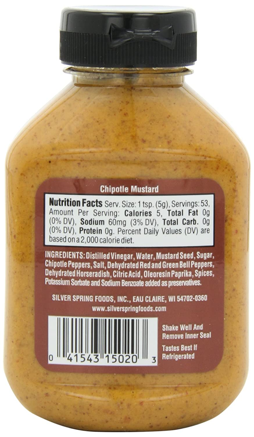 amazon com silver springs mustard chipotle 9 5 ounce squeeze