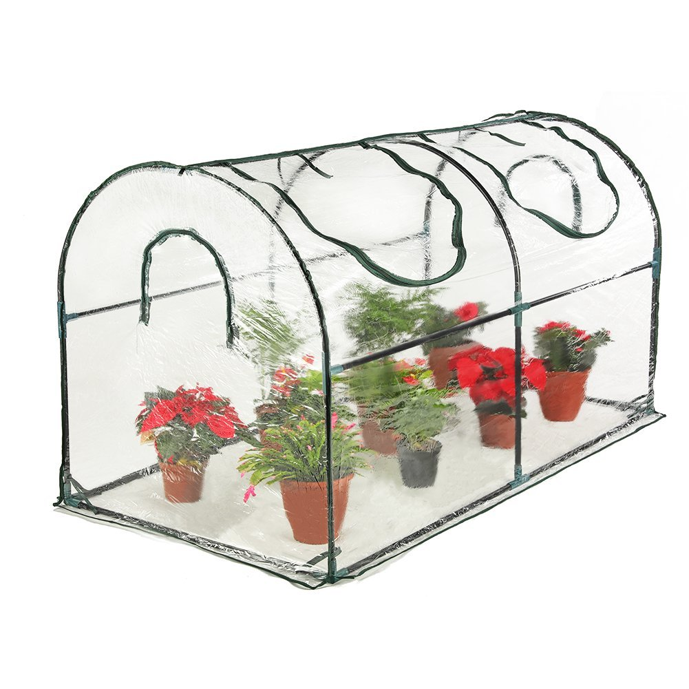Seven colors house Reinforced Portable Mini Greenhouse 35.4''x70.8''x39'' Vegetable Plant Mini Arc Greenhouse Clear Cover Indoor & Outdoor Plants
