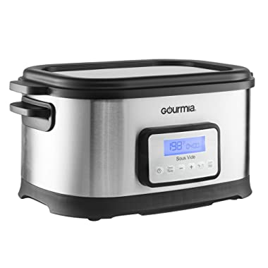 Gourmia GSV550 Self Contained Sous Vide Water Oven Cooker - Digital Timer & Temperature Controls - Includes Rack- 9 Qt - 520W - Stainless Steel - Includes Free Recipe Book