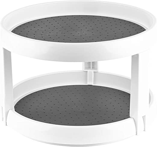 Amazon Com Homeries 2 Tier Lazy Susan Turntable Tiered Rotating Kitchen Spice Organizer For Cabinets Pantry Bathroom Refrigerator Non Skid Surface Rimmed Edge Kitchen Dining