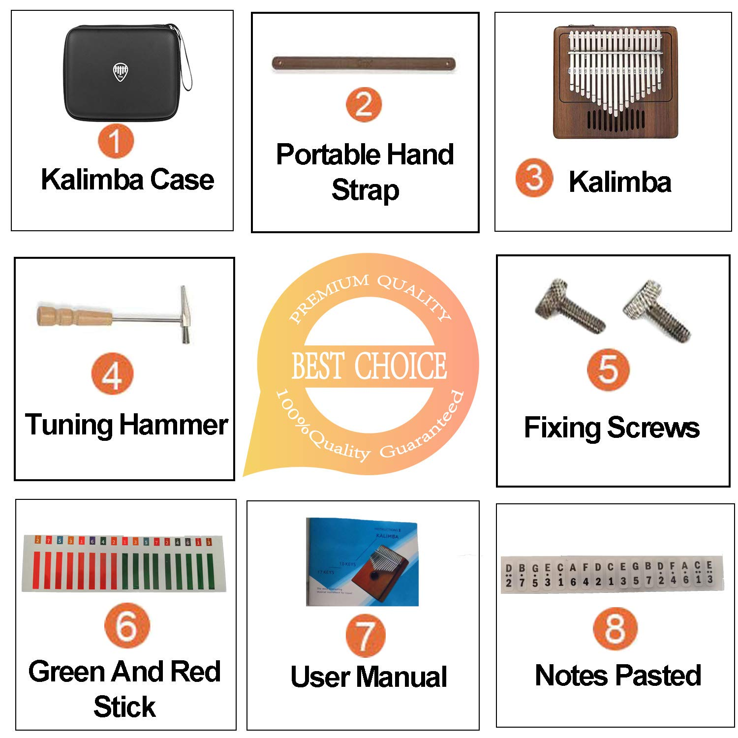 TOM Kalimba, 17 Key Finger Piano with EVA High-performance protective Case, Tune Hammer And Study Instruction 17 Tone Thumb Mbira for Kids Adult Beginners Professionals by TOM (Image #7)