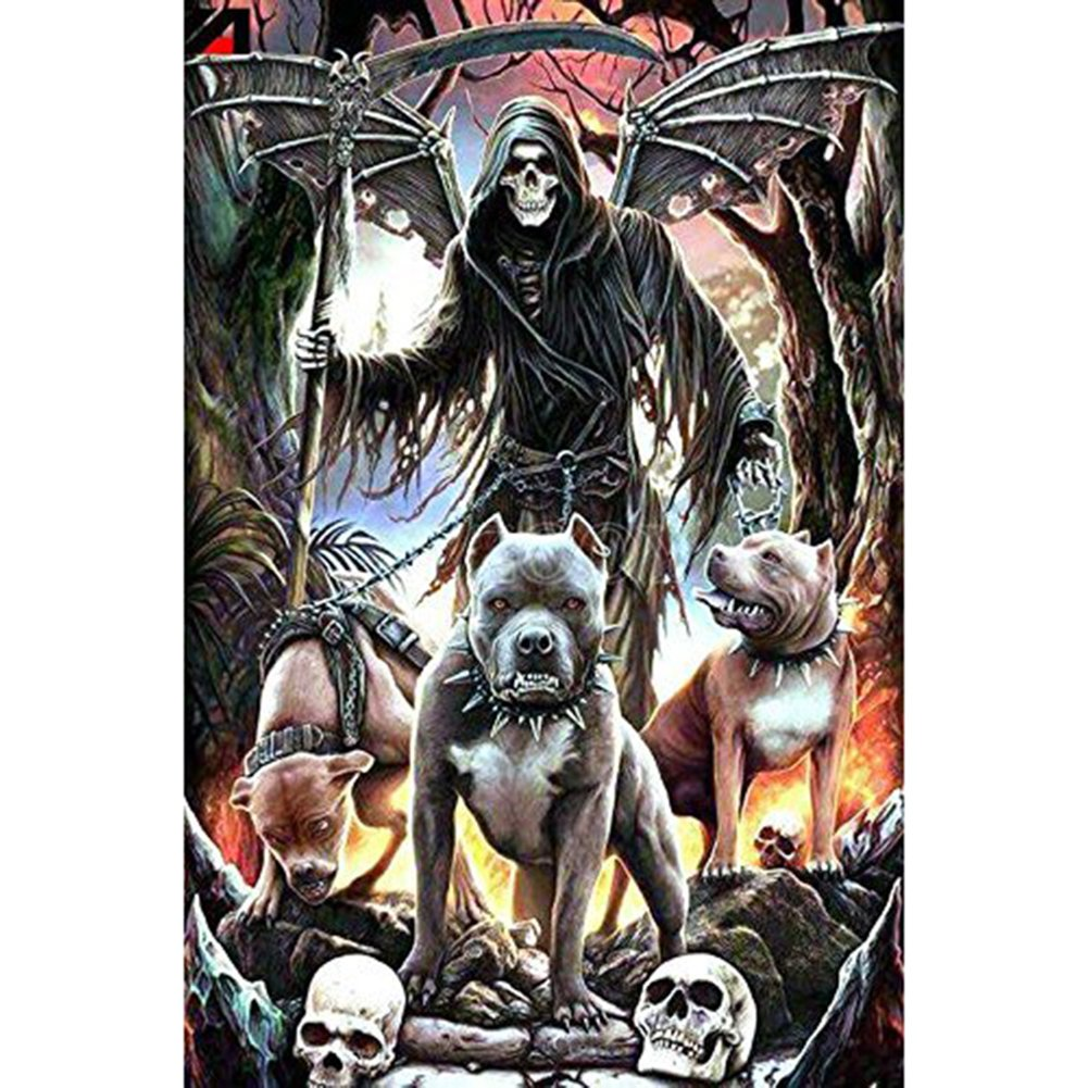 5D Full Drill Diamond Painting, DIY Embroidery Cross Stitch Picture Art for Home Wall Decor Grim Reaper Dogs 11.8 x 15.8inches JXin