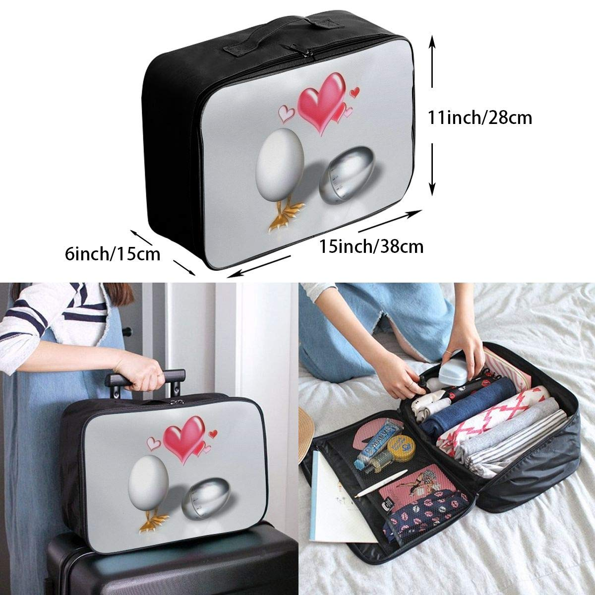 Travel Luggage Duffle Bag Lightweight Portable Handbag Chicken Egg Large Capacity Waterproof Foldable Storage Tote