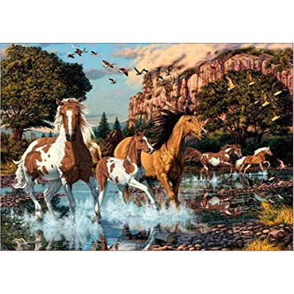 Clearance Sale 5D Diamond Painting Rhinestone River Horse Group Gallop  Embroidery Wallpaper DIY Cross Stitch Arts