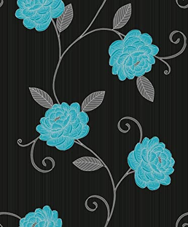 picasso black with silver teal flower