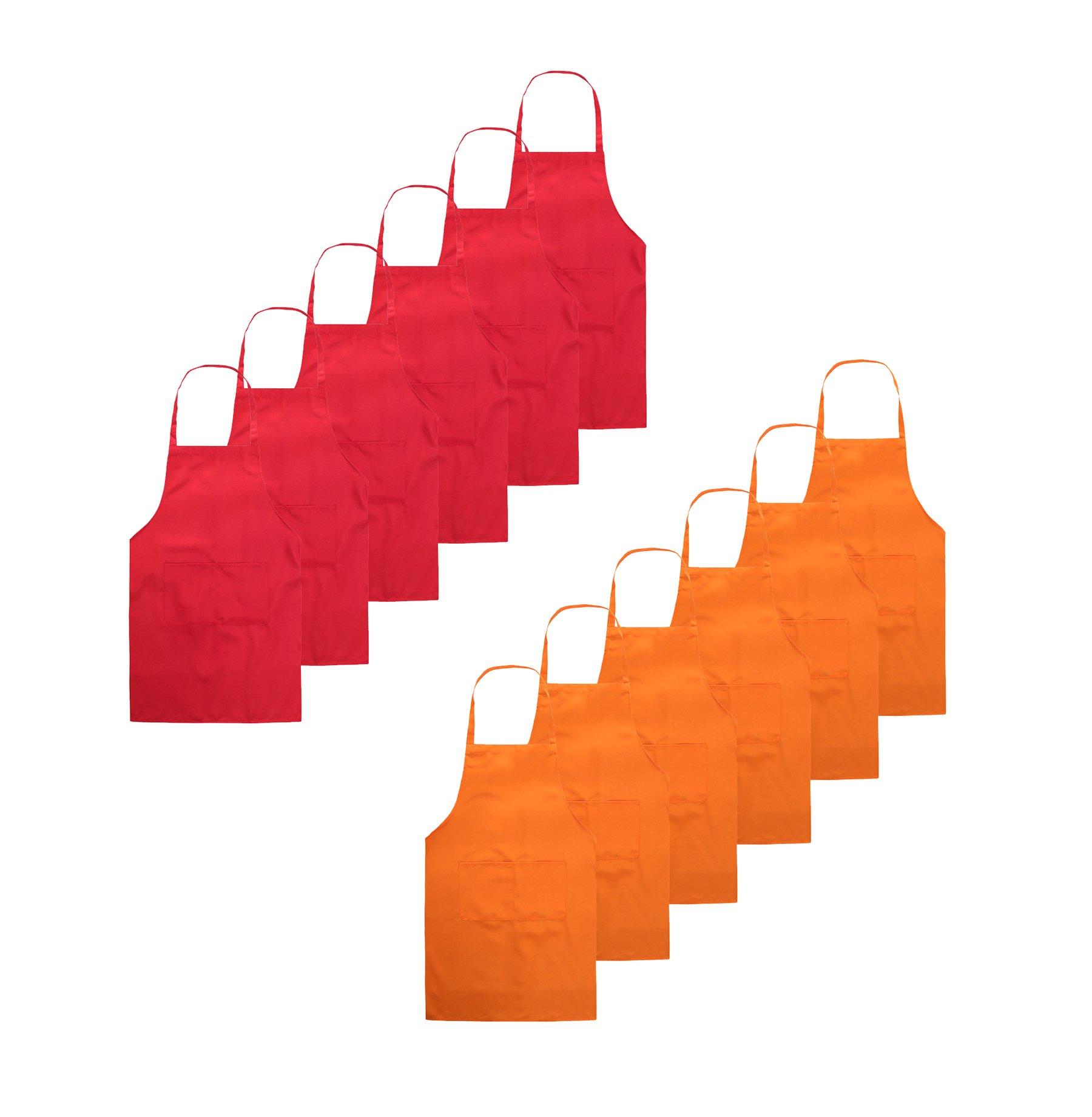 TSD STORY Total 12 PCS Plain Color Bib Apron Adult with 2 Front Pocket (Red+Orange)