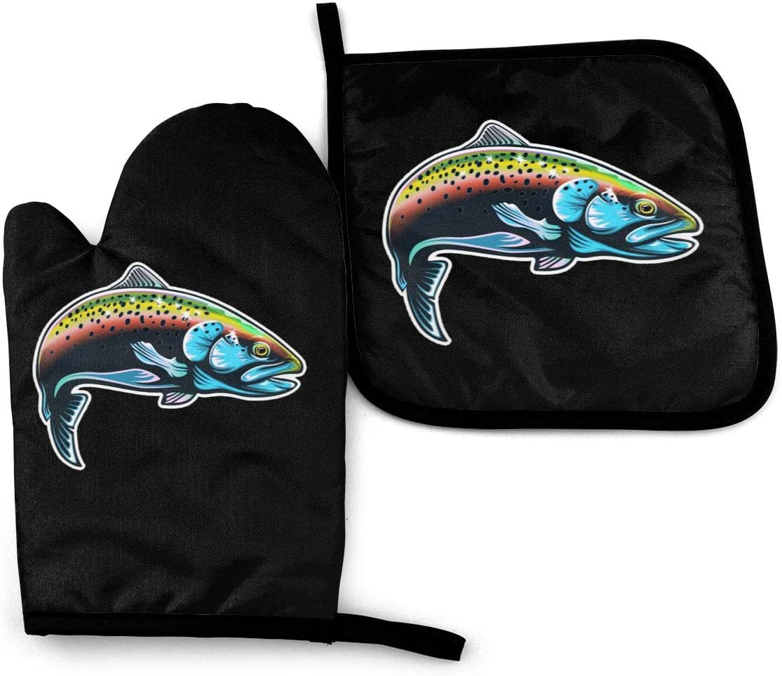 Jiafour Rainbow Trout Fish Kitchen Heat Resistant Waterproof Oven Mitts and Pot Holders Sets Safe