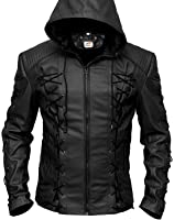 Sputer Stephen Amell Roy Harper Red Green Arrow Mens Faux Hooded Leather Jacket