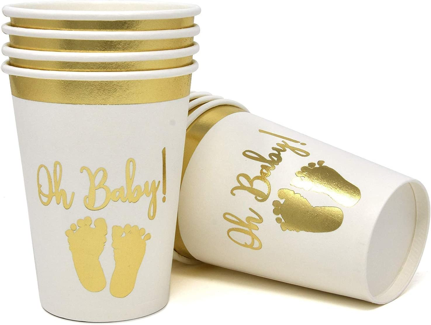 Gift Boutique 50 Baby Shower Cups 9 oz Paper Disposable Cup Tableware for Boys or Girls Neutral Gender Reveal Party Supplies Decorations Gold Foil and White Oh Baby with Baby Footprints