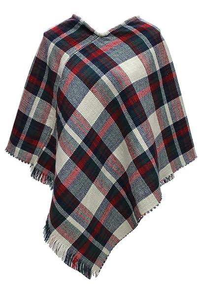 6935f6862a2719 VamJump Women Winter Plaid Houndstooth Tartan Fringe Poncho Cape Shawl  Beige at Amazon Women's Clothing store: