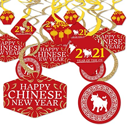 Chinese Red Lanterns Chinese Knot Sign Foil Ceiling Swirls for the Ox Chinese New Year Party Chinese Spring Festival Supplies 30 Pieces Happy Chinese New Year 2021 Hanging Swirls Decorations