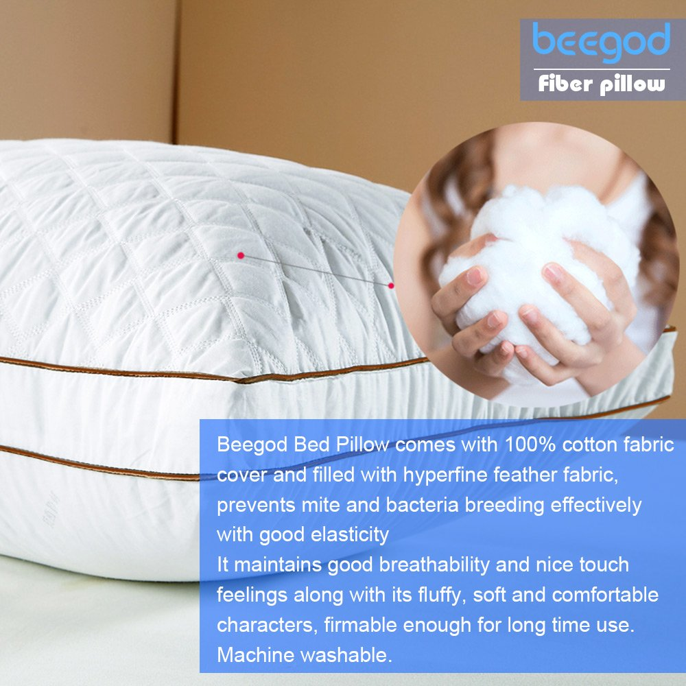 amazon com beegod bed pillows 2 pack for better sleeping super